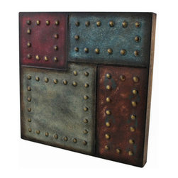 Studded Square Color Block Metal Wall Plaque 12 In. - Add a unique accent to any wall in your home with this square, studded metal wall plaque. It measures 12 inches tall, 12 inches wide, 1 1/4 inches thick, and easily mounts to the wall with 2 nails or screws. It is sure to be admired, and makes a great gift.