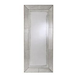 Arteriors - Arteriors Vera Antiqued Mirror Framed Floor Mirror - Rectangular floor mirror features antiqued mirror border over a wood frame with silver leaf edge finish.