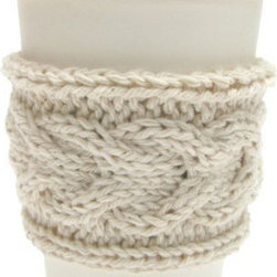 Knitted Coffee Sleeves - Add some comfy style to your coffee or tea to-go with this great cotton cable knit coffee sleeve, hand-knit by artist Jacqueline Dufresne. No more burned fingers while dashing back to the office!