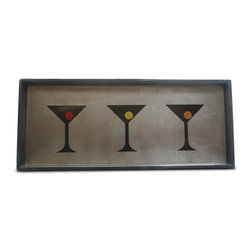 Belle & June - Martini Glasses Cocktail Tray - Sexy, sleek and oh so spirited! This lovely lacquered tray, with its bold martini trio motif, makes a perfect accent to your decor, whether you use it to serve guests, hold treasures or simply sit out on display.