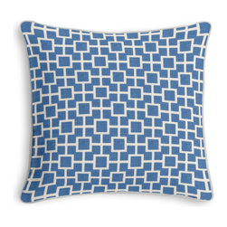 Bright Blue Square Trellis  Corded Throw Pillow - Black and white photos, Louis XIV chairs, crown molding: classic is always classy. So it is with this long-time decorator's favorite: the Corded Throw Pillow.  We love it in this modern electric blue geometric trellis on white lightweight linen. who knew being hip could be so square?
