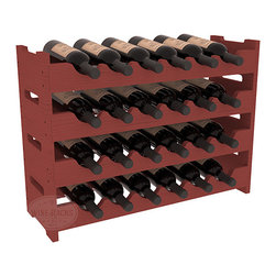 24 Bottle Mini Scalloped Wine Rack in Pine with Cherry Stain - Stack four 6 bottle racks for proper storage of 24 wine bottles. This rack requires light hardware for assembly and is ready to use as soon as it arrives. Makes the perfect gift and stores wine on any flat surface.