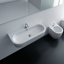 "WS Bath Collections - Flo 35.4"" x 16.5"" Wall/Counter Ceramic Sink - Flo by WS Bath Collections Bathroom Sink 35.4 x 16.5, Wall Hung or Counter Top Installation in Ceramic White, With One Faucet Hole in the Center, Made in Italy"