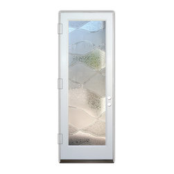Sans Soucie Art Glass (door frame material Plastpro) - Glass Front Entry Door Sans Soucie Art Glass Abstract Hills 3D - Sans Soucie Art Glass Front Door with Sandblast Etched Glass Design. Get the privacy you need without blocking light, thru beautiful works of etched glass art by Sans Soucie!This glass is semi-private. Door material will be unfinished, ready for paint or stain.Bronze Sill, Sweep and Hinges. Available in other finishes, sizes, swing directions and door materials.Tempered Safety Glass.Cleaning is the same as regular clear glass. Use glass cleaner and a soft cloth.