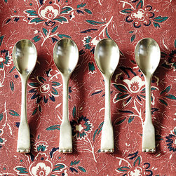 Ballard Designs - Bunny Williams Paris Flea Market Coffee Spoons - Set of 4 - Coordinates with Bunny's Paris Flea Market Flatware. Scalloped tip handles. Cast brass & stainless steel. Soft Antique Silver finish. The perfect size for afternoon coffee, these vintage spoons were inspired by a set designer Bunny Williams found while foraging for treasure at a Paris flea market. Like the originals, they're nicely weighted and feel substantial in your hand. Hand crafted of cast brass and stainless steel.Bunny Williams Coffee Spoon features: . . . . *Monogramming available for an additional charge.*Allow 3 to 5 days for monogramming plus shipping time.*Please note that personalized items are non-returnable.