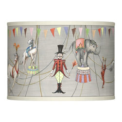 """Giclee Glow - Kids Circus Time Giclee Lamp Shade 13.5x13.5x10 (Spider) - This classic hardback style drum shade will reawaken your room's decor. An exclusive Circus Time pattern is printed giclee-style and is custom made-to-order. The correct size harp and matching finial are included free with this shade. Chrome finish spider fitter. Drum shape shade. U.S. Patent # 7347593. Circus Time pattern giclee printed drum shade. Chrome finish spider fitting. 13 1/2"""" wide. 10"""" high.  Circus Time pattern giclee printed drum shade.   Chrome finish spider fitting.   Custom made-to-order.  13 1/2"""" across the top.   13 1/2"""" across the bottom.   10"""" high."""