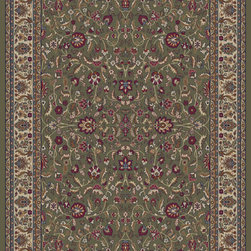 """Concord Global - Concord Global Jewel Kashan Green 6'7"""" x 9'6"""" Rug (4065) - Jewel collection is machine-made in Turkey using 100% heat-set polypropelene. These traditional to contemporary rugs will make a colorful addition to any area."""