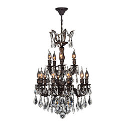 Worldwide Lighting - Versailles 15 light Flemish Brass Finish with Clear Crystal Chandelier - This stunning 15-light chandelier only uses the best quality material and workmanship ensuring a beautiful heirloom quality piece. Featuring a cast aluminum base in flemish brass finish and all over clear crystal embellishments made of finely cut premium grade 30% full lead crystal, this chandelier will give any room sparkle and glamour. Worldwide Lighting Corporation is a premier designer manufacturer and direct importer of fine quality chandeliers, surface mounts, and sconces for your home at a reasonable price. You will find unmatched quality and artistry in every luminaire we manufacture.