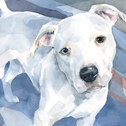 Pitbull Painting - Custom Watercolor Pet Painting - Fun watercolor portrait of your dog or pet. Lots of nice texture and detail. Realistic but still full of personality and character.
