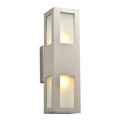 PLC Lighting - PLC 2 Light Outdoor Wall Fixture Tessa Collection 8041/CFL SL - -Finish: Silver