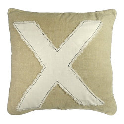"""Sugarboo Designs - """"X"""" Stitch Pillow by Sugarboo Designs - A large cream linen """"X"""" with frayed edges is stitched onto a natural linen pillow cover spawning a vintagesque feel. Pair this with the """"O"""" pillow and layer on a bed. Hugs and Kisses will come your way. Down insert. (SB)"""