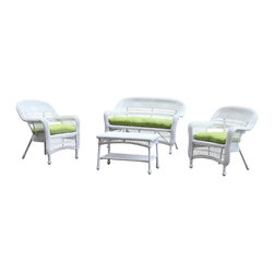 Lemoderno - Fine Mod Imports Portside White 4pc Outdoor Set Green Cushion - Made of all weather resistant wicker the Portside White Outdoor Set will not only be decorative on you patio but will provide much comfort as well.