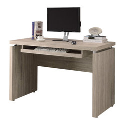 Monarch Specialties - Monarch Specialties 7203 Computer Desk in Natural - Sleek and contemporary, this warm natural reclaimed look desk is the perfect combination of function, durability and design in a modern form. With clean lines and thick panels, this desk will add style to any home office. Features a large size pull out keyboard tray with room for a mouse. A large desktop surface provides plenty of room for all your hardware and working needs. Coordinate with matching bookcase and mobile stand for ultimate organization.