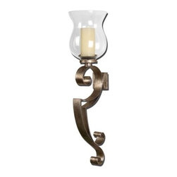 Uttermost - Uttermost 19639 Loran Wall Sconce Candle Holder - Uttermost 19639 Joseph Famulari Loran Wall Sconce Candle HolderHand forged metal sconce finished in heavily antiqued silver champagne with a clear glass globe. Beige candle included.Features:
