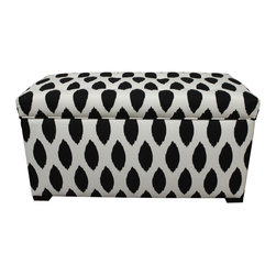 Sole Designs - Angela Chazz Storage Trunk - Make your room pop with an exotic flair with this black-and-white storage trunk. The thick foam padding and sturdy wood frame make this trunk great to use as an extra seat,and the 37-inch width provides space to store spare pillows,blankets,and more.