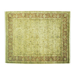 Area Rug, Thick & Plush 8'X10' Rajasthan Ivory 100% Wool Hand Knotted Rug SH7270 - Agra & Rajasthan Hand Knotted Rugs have Persian inspired floral motifs.  They are hand knotted from India and usually consists of 100% Wool.  The colors usually consists of Blacks, Deep Reds, Browns, & Greens.