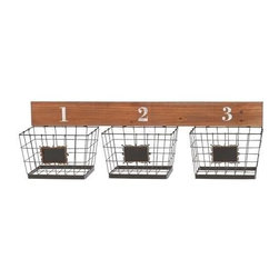 Benzara - Attractive Wooden Panel Metal Wall Basket - Attractive Wooden Panel Metal Wall Basket. Bring this attractive wooden panel and metal Basket and add a new look to your home. Some assembly may be required.