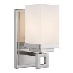 Golden Lighting - Nelio 1 Light Wall Sconce - Be in the presence of bright. With a pewter finish and cased opal glass, this polished wall sconce is modern and evenly diffuses light. It just might make your hall a destination.