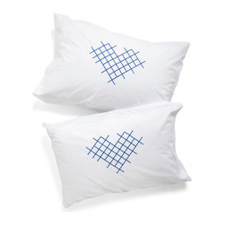 Cross-Stitch My Heart Pillowcases, Set of 2 - Cross my heart! For when you need to eat, drink and sleep with thoughts of your love, this cross-stitch heart pillowcase set is perfect. I would make up a bed so that these are the hidden touch, discovered when the covers are pulled down.