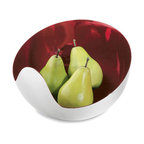 mia bowl - red - a modern, contemporary bowl from chiasso - I love the combination of stainless steel and the bright red interior of this bowl. It's the perfect display for bright green apples or grapes so you can have a great looking edible display.