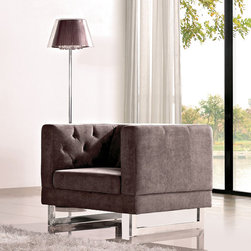 None - Dark Raisin Grey Allegro Chair - Give your home a modern edge with this contemporary club chair. It has a solid hardwood frame so it's sturdy and durable, a dark grey upholstery that won't overpower your decor, and it's filled with high-density foam to make it soft and supportive.