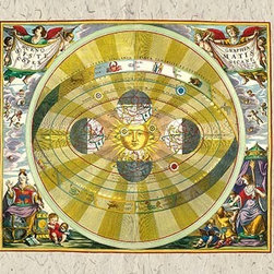 """Buyenlarge.com, Inc. - Copernican System- Paper Poster 20"""" x 30"""" - Andreas Cellarius (1596 - 1665) was a Dutch-German cartographer. He is best known for his Harmonia Macrocosmica of 1660, a major star atlas, published by Johannes Janssonius in Amsterdam."""