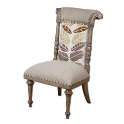 Uttermost - Bosley Armless Chair - Fall in love with this autumn-inspired chair that's upholstered in earth-toned fabric with a leaf pattern along the back. Place several around your dining table or use it as an accent piece in your office or master bedroom.