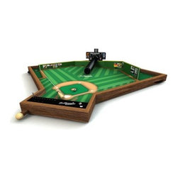Tudor Games 34 in. Ballpark Classics Baseball Table Top Game - Prepare your best fastball, curveball, changeup, or slider and let it fly on one of the Tudor Games 34 in. Ballpark Classics Baseball Table Top Game - you won't even need your glove. These tabletop baseball games are sure to please your favorite national pastime fan. All you need are two players to get a game going. The pitcher selects his pitch and lets it fly down the pitching tube, while the batter prepares to wallop it through the holes in the fence - there's one for a single, one for a double, one for a triple, and -- if you can plan it just right - hit it right back up the tube for a home run. The games' scoreboards make it easy to track the visiting team's score, the home team's score, the inning, and the number of outs. Any balls and strikes fall into a dropped platform behind the batter for quick, efficient play. The games are made of high quality birch wood and completed in a furniture-grade finish, so they're destined to remain durable heirlooms that your family will enjoy for ages. Three different styles are available, choose the MLB Edition, the Fenway Park Edition, or the Yankee Stadium Edition. No matter which one you choose, you'll be in baseball heaven. Ten steel balls are included, as are official rules. Just don't forget the peanuts and Cracker Jack! Dimensions MLB Edition: 34L x 30W x 7H inches Fenway Park Edition: 34L x 30W x 8H inches Yankee Stadium Edition: 34L x 30W x 6H inches