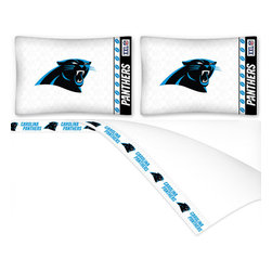 Sports Coverage - NFL Carolina Panthers Football Queen Bed Sheet Set - FEATURES:
