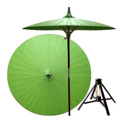 Oriental Unlimted - 7 ft. Tall Melon Patio Umbrella w Bamboo Stan - Includes Bamboo stand. Handcrafted and hand-painted by master artisans. 100% Waterproof and extremely durable. Umbrella shade can be set at 2 different heights, 1 for maximum shade coverage and the other for a better view of the shade. An optional base, which secures the umbrella rod and shade against strong winds and rain. Patio umbrella rod and base is constructed of stained oak hardwood for a rich look and durable design. Umbrella shade is made of oil-treated cotton. Minimal assembly required. Canopy: 76 in. D x 84 in. HEternity, family, harmony, peace and health are all related to the color Green in Asian lore. Place this lovely Green patio umbrella anywhere in your yard or outdoor area to create a feeling of tranquility and serenity.
