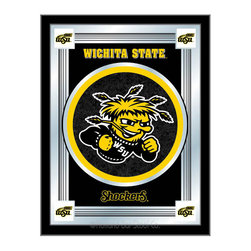 "Holland Bar Stool - Holland Bar Stool Wichita State Logo Mirror - Wichita State Logo Mirror belongs to College Collection by Holland Bar Stool The perfect way to show your school pride, our logo mirror displays your school's symbols with a style that fits any setting.  With it's simple but elegant design, colors burst through the 1/8"" thick glass and are highlighted by the mirrored accents.  Framed with a black, 1 1/4 wrapped wood frame with saw tooth hangers, this 17""(W) x 22""(H) mirror is ideal for your office, garage, or any room of the house.  Whether purchasing as a gift for a recent grad, sports superfan, or for yourself, you can take satisfaction knowing you're buying a mirror that is proudly Made in the USA by Holland Bar Stool Company, Holland, MI.   Mirror (1)"
