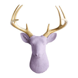 Wall Charmers - Wall Charmers Deer, Lavender/Gold - WALL CHARMERS FAUX TAXIDERMY DEER HEAD