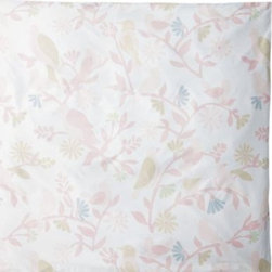 Serena & Lily - Meadowlark Duvet Cover - Birds, blooms and branches are printed in a palette of pale blush, periwinkle and grey. The shades are kept to a whisper for a sweetly sophisticated design on a white ground.
