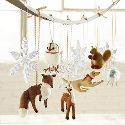 Ballard Designs - Bunny Williams Felt Animal Ornaments - Set of 6 - Includes Sheep, Deer, Fox, Dog, Squirrel & Owl. Handmade. Soft wool blend. Designer and gardening guru, Bunny Williams, lives in a wooded area of Connecticut surrounded by wildlife (and several happy dogs). So creating these Animal Ornaments was a natural for her first Ballard Christmas collection. Bunny Williams Felt Animal Ornament features: . . .