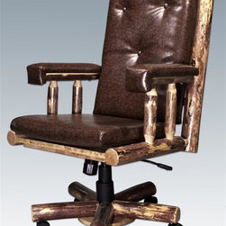 Montana Woodworks - Swivel Office Chair - Hand crafted. Heirloom quality. Adjustable tilt mechanism. Adjustable base for comfort and ease of use. Padded seat and arm rests. Roller casters. Upholstered seat. Back and arms take the strain out of long sessions at the desk and helps to alleviate fatigue. Solid lodge pole pine accents. Made from American grown wood. Stained and lacquered finish. Made in USA. Assembly required. 27 in. W x 24 in. D x 48 in. H (62 lbs.). Warranty. Use and Care InstructionsThe perfect chair to accompany the perfect desk! Finished in the glacier country collection style for a truly unique, one-of-a-kind look reminiscent of the grand lodges of the Rockies, circa 1900. First we remove the outer bark while leaving the inner, cambium layer intact for texture and contrast. Then the finish is completed in an eight step, professional spraying process that applies stain and lacquer for a beautiful, long lasting finish. The process is completed in a professional eight step process that applies stain and lacquer for a durable, low maintenance finish. Dark, rich hues and tones provide an extraordinary appearance!