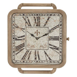"""Benzara - Wall Clock with Vintage Allure and Beautiful Look - Elegant and stylish, this wood wall clock adds a vintage appeal to your home decor. You can embellish and deck up a wall with this antique wall clock. The wooden bezel is astutely craved with precision and displays fine detailing. The decorative piece is modeled like a square with a white dial. The dial displays Roman numerals with a Fleur de lies on top. For an appealing design, the hands of the clock are glazed in black. There is a screw affixed on the side of the clock and handles on either side, which augment the authenticity of the clock. This wooden clock is a beautiful decorative accessory and can be presented as a gift. Constructed of wood, this clock is sturdy and long lasting. This elegantly designed clock has vintage allure and looks attractive.; Made of wood; Has a neat construction; Has Roman numerals; Sports a squared dial; Looks antique; Weight: 5.73 lbs; Dimensions:21""""W x 41276""""D x 24""""H"""