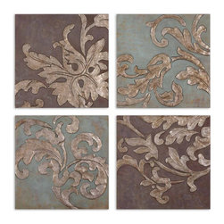 Handpainted Damask Blue And Brown Wall Plaques Set of 4 - *These hardboard wall plaques are hand painted oils.