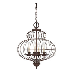 Quoizel - Quoizel LLA5204RA Laila Transitional Chandelier - The comfortable style of this collection makes your home feel warm and inviting.  The open feel of the cage like structure adds visual interest and the candelabra lights emit a soft and cozy glow for a touch of romance.  It adds an artistic flair to any room.