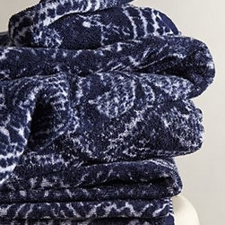 "Fresco Towels - Indigo Batik Towel - By Fresco TowelsTurkish cottonMachine washWashcloth: 12"" squareHand towel: 30""L, 20""WBath towel: 56""L, 30""WUSA"