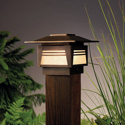Kichler 15071 Zen Garden 1 Light Outdoor Post Lamp - Add some Asian calm to your yard at night with this stylish and simple post light.