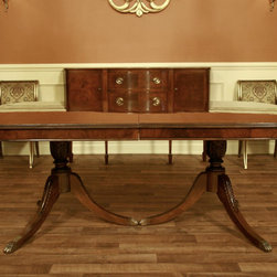 Traditional Antique Reproduction Brown Mahogany Dining Room Table (AP 7 WAL) - This table is 79 inches long when none of the leaves are in place.