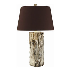 Arteriors - Goldberg Tall Lamp - Rustic decor has come into the 21st century with a chicness you'd never expect from its cliché cabin origins. This lamp's real log base is as raw and rustic as they come, but it's graced with elegant, contemporary touches like silver plating and a rich, dark chocolate silk shade. The shade is lined with silver foil for a brighter light which highlights the finish. It's a stylish option for any nature-themed room.