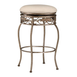 Hillsdale Furniture - Hillsdale Bordeaux Backless Swivel 30 Inch Barstool - Splendid wrought iron design, the Bordeaux stools features elegant scroll work, with beautiful decorative leaf and medallion casting accents. Stools have durable, off-white fabric seats. Finished in a beautiful pewter powder coat base finish with bronze highlights. Lovely additions to any home.