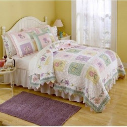 Pem America Spring Meadows Bedding Set - With its delicate, floral border and flower and butterfly pattern, the Pem America Spring Meadows Bedding Set is a beautiful addition to any bedroom. Pastel green, pink, violet, white, and beige creates a soft look that is relaxing and inviting. Crafted from 100% cotton with 100% polyester fill, this gorgeous quilt will keep your child warm and cozy and night. Bedding Set Components: Twin: quilt, 1 sham Full/Queen: quilt, 2 shams Quilt Dimensions: Twin: 86L x 68W inches Full/Queen: 86L x 86W inches About Pem America Makers of high quality handcrafted textiles, Pem America Outlet specializes in bedding that enhances your comfort and emphasizes the importance of a good night's rest. Comforters, quilts, pillows, and other items for the bedroom are made with care and craftsmanship by Pem America. Their products cover a wide range of materials, styles, colors, and designs, all made with long-lasting quality construction and soft, long-wearing materials. Details like fine stitching, embroidery and crochet decorations, and reinforced seaming make Pem America bedding comfortable and just right for you and your family.