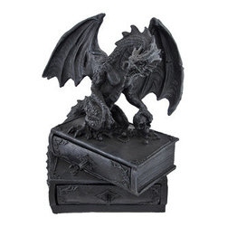 Dragon Perched on Books With Treasure Trinket Box - Stash your precious treasures in this wonderfully detailed trinket box and the fierce dragon will guard them from above. The spines of both stacked books slide out like drawers in which you may store your trinkets and talismans. The trinket box is made from cold cast resin and measures 9 1/2 inches tall, 7 inches long, and 6 inches wide. The black matte finish of the piece emphasizes its stunning details in the dragon`s sharp scales and the individual pages of each book. This trinket box would make a great gift for any collector of fantasy art.
