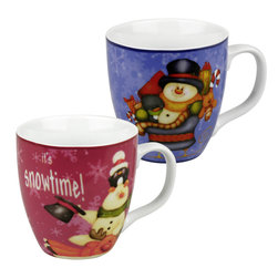 Konitz - Set of 2 Mugs Little Santa Frosty & Frosty's Snowtime - This set of adorable holiday mugs features your favorite Christmas character - Frosty the Snowman! One red mug and one blue mug.
