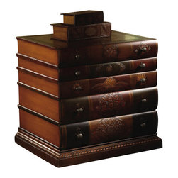 "Crestview - Crestview CVFYR654 Library 3-Drawer Chest - Library 3-Drawer Chest Book Inspired 3 Drawer Chest in Pecan & Handpainted Finishes, MDF & Wood Construction  23.25""W x 19.5""D x 26.75""Ht."