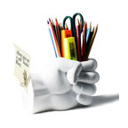 Danya B. - The Art of Hand Srong Hand Pen Holder with Paperclip Magnet - Could you use a fistful of organization on your desk? Then this smart, sculptural pen holder will do the trick, hands down. Crafted from cement with a white PVC coating, it weighs nearly three pounds and would work well as paperweight too. A magnetic side offers further organization possibilities.