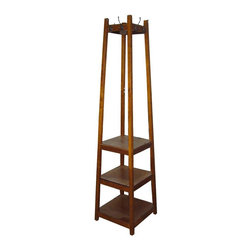 ORE International - 3-Tier Tower Coat Rack in Brown - Eight coat hooks pair on each side. 3.5 in. hooks apart from each other. Fit perfectly in any living room style and decor. Weight capacity per tier: 50 lbs.. Weight capacity per coat hook: 15 lbs.. Warranty: 60 days. Made from wood. Assembly required. Top rack: 6.5 in. W x 6.5 in. D. Top tier: 14.5 in. W x 14.5 in. D. Middle tier: 15.5 in. W x 15.5 in. D. Bottom tier: 16.5 in. W x 16.5 in. D. Space between each tier: 11 in.. Space between from the top tier: 38 in. H. Overall: 17 in. W x 17 in. D x 72 in. HWith the conveniently design, this item will increase room for your storage while the three tiers.