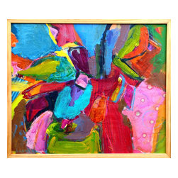Flowers In Vase, Original, Mixed Media - A lively abstract still life, incorporating generous amounts of collage and thickly applied area of paint